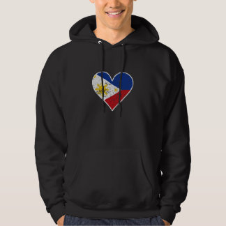 Distressed Filipino Flag Heart Hoodie