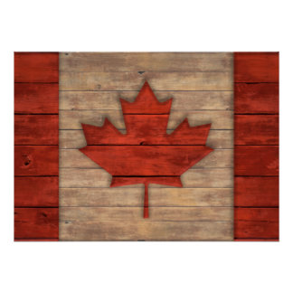 Distressed Flag of Canada Wood Look Poster