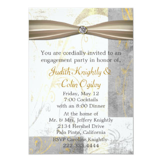 Distressed Flourishes Engagement Party Invitation