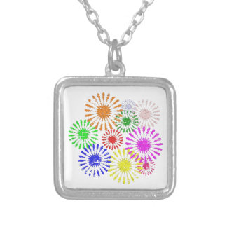 Distressed Flower Burst Silver Plated Necklace