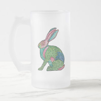 Distressed Forest Rabbit Frosted Glass Beer Mug