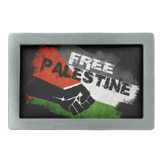 Distressed Free Palestine Flag Rectangular Belt Buckles
