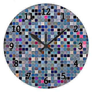 Distressed Funky Blue 'Bathroom Tiles' Pattern Large Clock