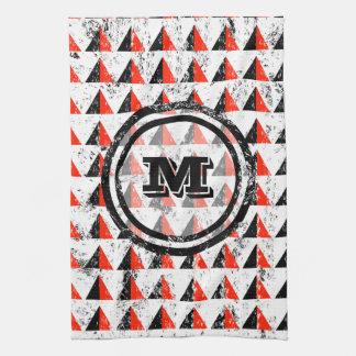 Distressed Geometric Monogram Kitchen Towel