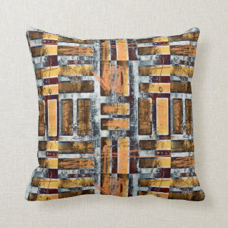 Distressed geometric throw pillow