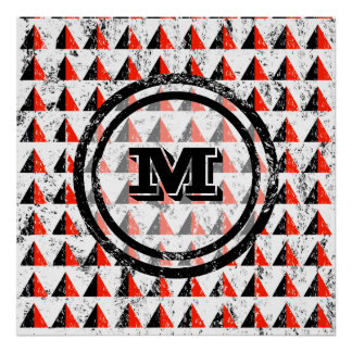 Distressed Geometric Triangles  Monogram Poster