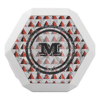 Distressed Geometric Triangles  Monogram White Bluetooth Speaker