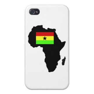 Distressed Ghanian flag and African Silhouette Cases For iPhone 4