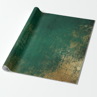 Distressed Gold Emerald Deep Green Tropical Wrapping Paper