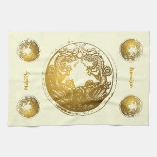 Distressed Golden Dragons - Nobility, Heroism Kitchen Towel