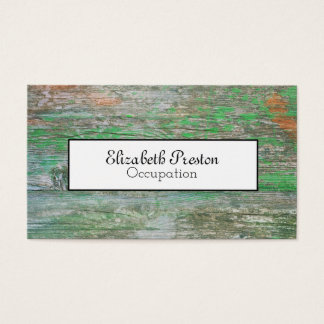Distressed  Green and Rusted Wood Effect Business Card