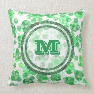 Distressed Green Monogram Throw Pillow