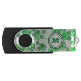 Distressed green spots monogram USB flash drive