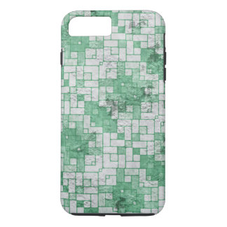 Distressed Green White Blocks Pattern iPhone 7 Plus Case