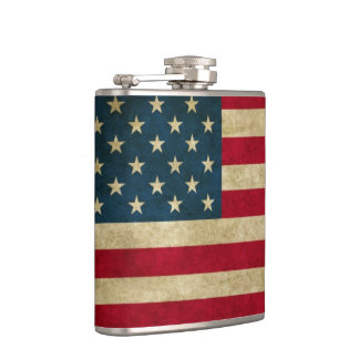 Distressed Grunge American Flag Flask