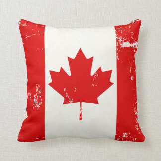 Distressed Grunge Canada Flag Maple Leaf Throw Pillow