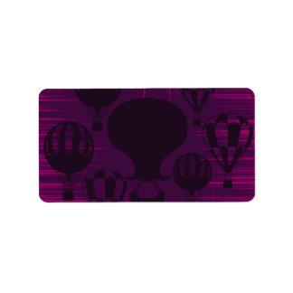 Distressed Grunge Vintage Hot Air Balloons Purple
