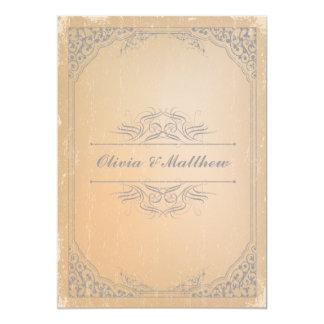 Distressed gunmetal grey vintage scroll wedding card