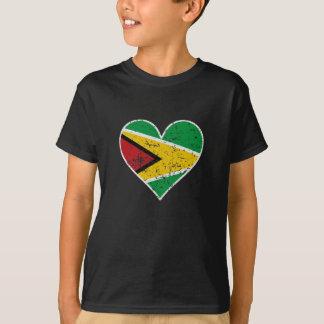 Distressed Guyanese Flag Heart T-Shirt