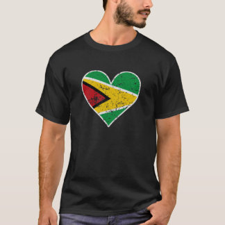 Distressed Guyanese Flag Heart T-Shirt