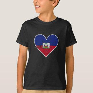 Distressed Haitian Flag Heart T-Shirt