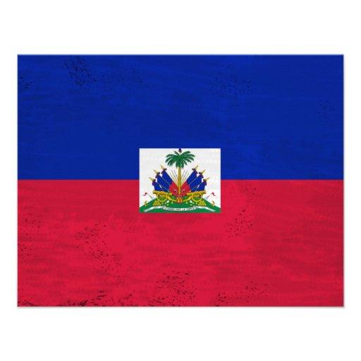 Distressed Haitian flag Personalized Invite