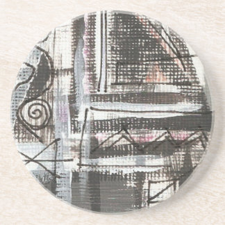 Distressed-Hand Painted Abstract Brushstrokes Coaster
