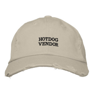 Distressed hat with words on it. embroidered baseball caps