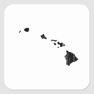 Distressed Hawaii State Outline Square Sticker