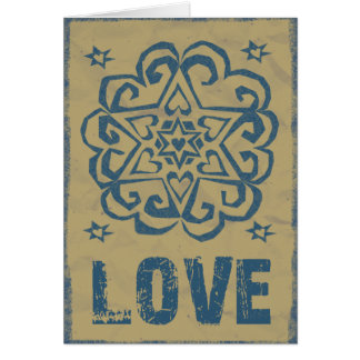 Distressed Hearts Stars Love Mandala Card