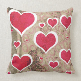 Distressed Hearts Throw Pillow