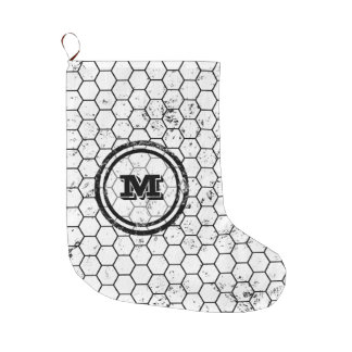 Distressed Honeycomb Monogram Geometric Large Christmas Stocking