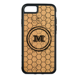 Distressed Honeycomb Monogram Pattern Carved iPhone 7 Case