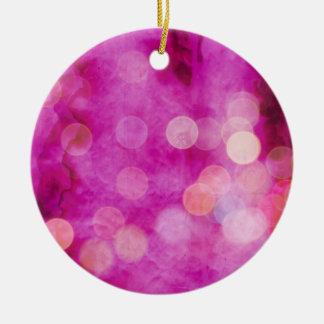 Distressed Hot Pink Fuchsia Bokeh Lights Round Ceramic Ornament