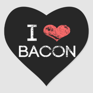 "Distressed ""I Love Bacon"" Heart Stickers"