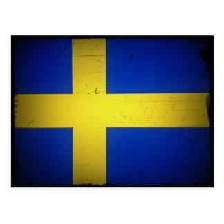 Distressed Image Swedish Flag Postcard