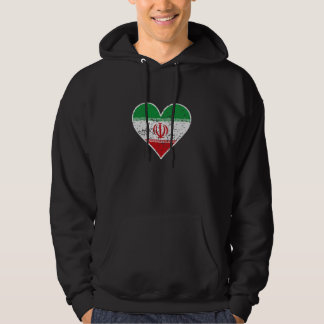 Distressed Iranian Flag Heart Hoodie