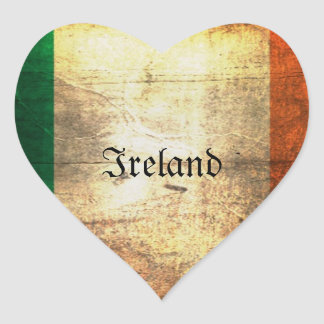 Distressed Irish Flag Heart Sticker