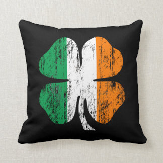 Distressed Irish Flag Shamrock Pillow