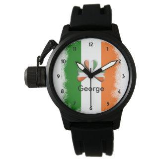 Distressed Irish Tri Colors Shamrock Personalized Wrist Watch