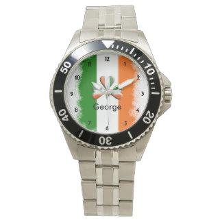 Distressed Irish Tri Colors Shamrock Personalized Wrist Watches