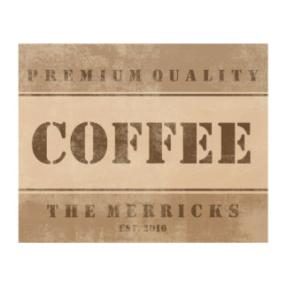 Distressed Kitchen Personalized COFFEE Art Wood Canvas