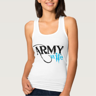 Distressed Lettering Army Wife Tank Top
