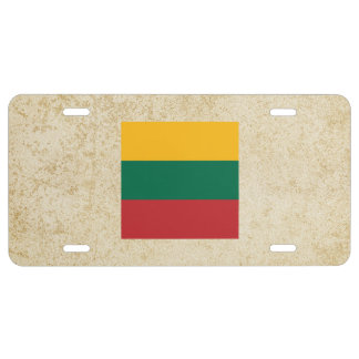 Distressed Lithuania Flag License Plate