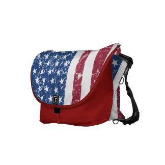 Distressed Look American Flag Bag Commuter Bag