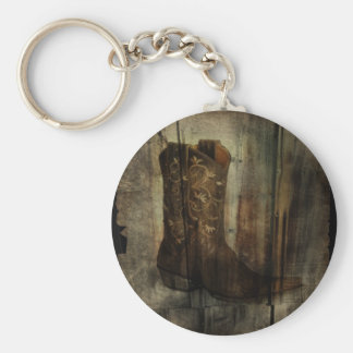 Distressed Man Cave Western Country Cowboy Boot Keychain