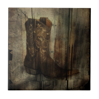 Distressed Man Cave Western Country Cowboy Boot Tile
