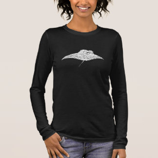 Distressed Manta Ray Silhouette Long Sleeve T-Shirt