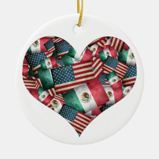 Distressed Mexican/American Flags  - Heart Shape Round Ceramic Ornament