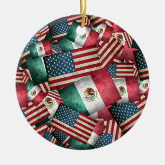 Distressed Mexican/American Flags  - US & Mexican Round Ceramic Ornament